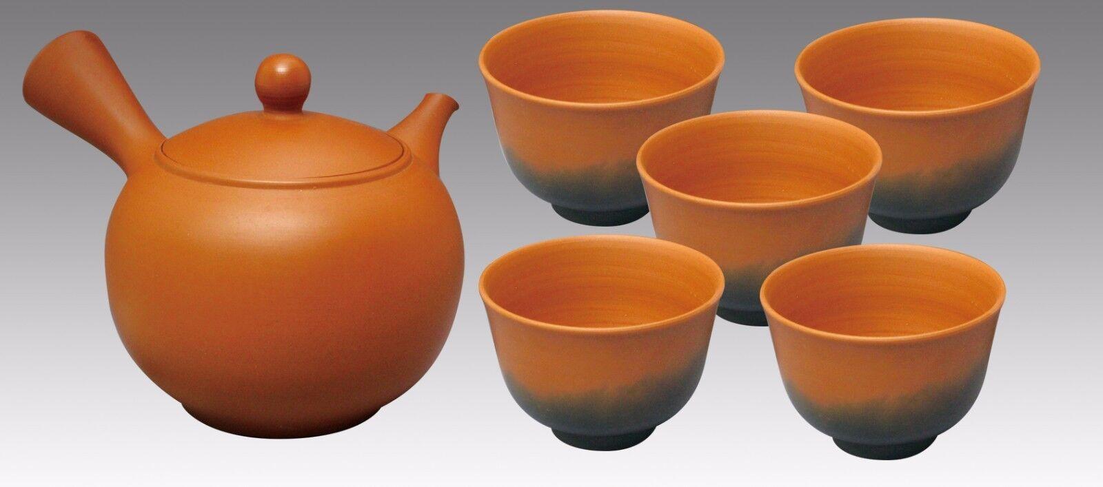 Tokoname Kyusu Teaset 3 - KOJI - Vermilion 1pot & 5chawan cups