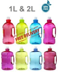 1 LITRE & 2 LITRE 1L 2L WATER BOTTLE DRINK WITH HANDLE BPA