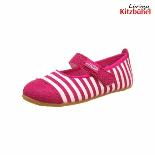 New Living Kitzbuhel Boiled Wool Youth Girl Slipper Shoe Pink Ballerina Stripes