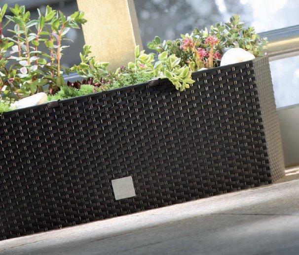 Large Brown Rattan Window Box 50cm Plant Pot Planter Case Flower SelfWatering
