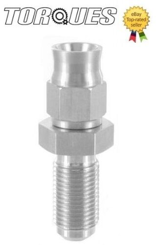 "AN-3 (3AN) 3/8""x24 UNF Long Male Bulkhead Straight Stainless Steel Hose Fitting"