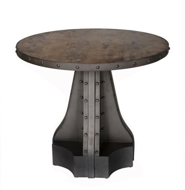 best cheap 73dfb 69ef8 Evoke Industrial Two Tone Solid Wood Round Dining Table Ev09