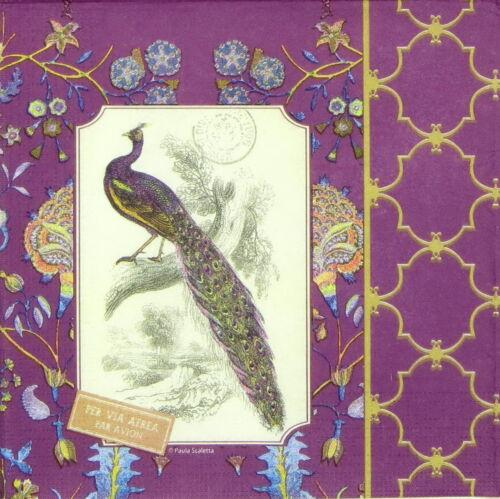 4x Paper Napkins for Decoupage Decopatch Craft Jaipur Peacock
