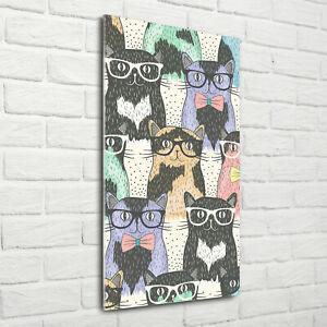 Wand-Bild-Kunstdruck-aus-Hart-Glas-Hochformat-70x140-Katzen-mit-Brille