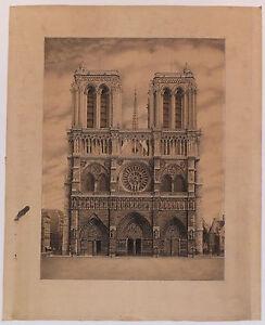 Paris Notre Dame Dessin à La Plume Pen And Ink Drawing 1928 Ebay