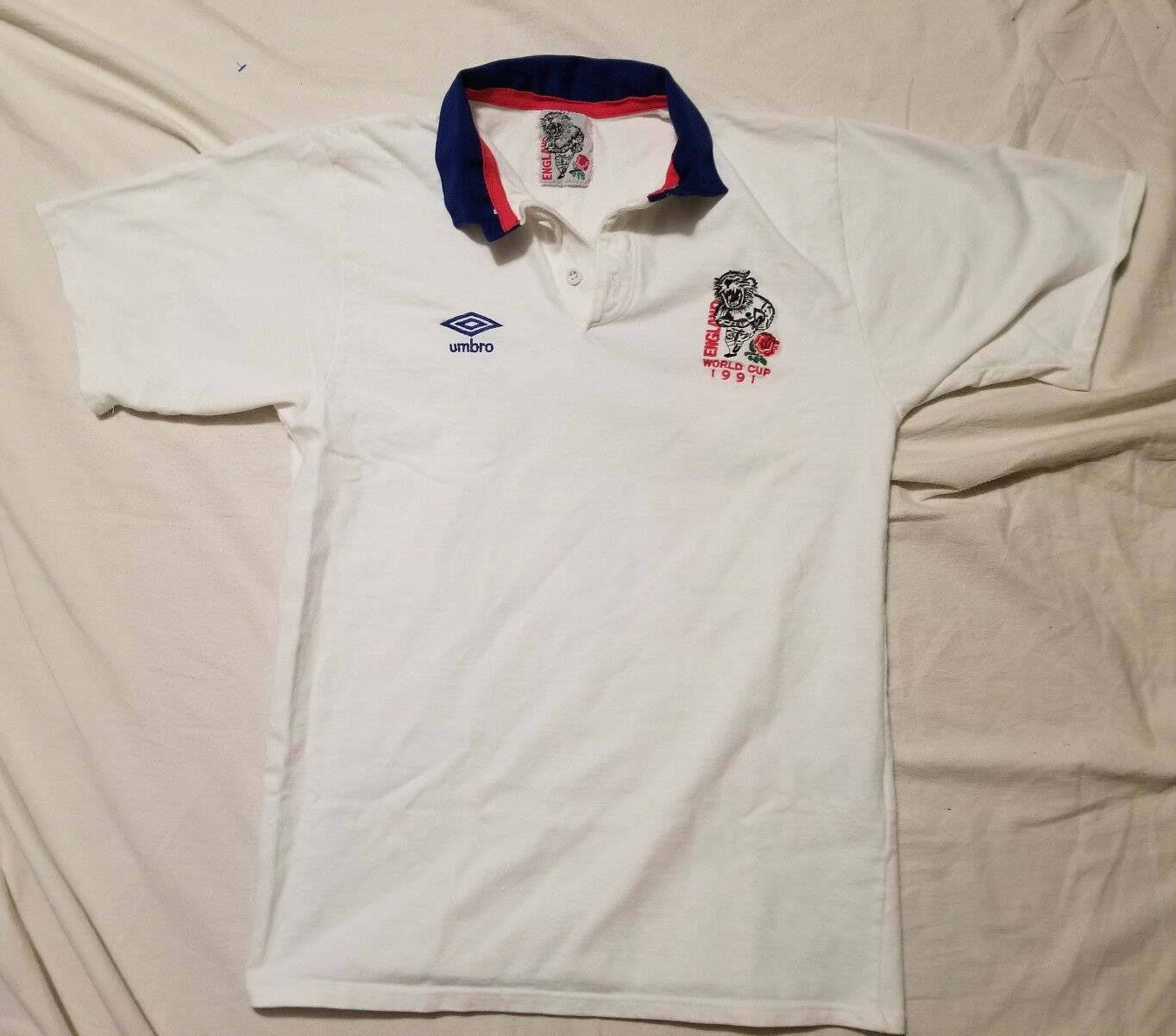 Vintage Umbro Polo Rugby 1991 WORLD CUP  NEW ENGLAND LARGE Football