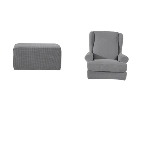 Stretch Wing Back Arm Chair Cover Protector Ottoman Footstool Slipcover Grey
