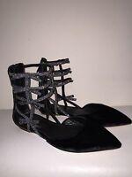 JCrew Velvet Bow Gladiator Flats Shoes $198 6 black glitter e4669 SOLD OUT!!!