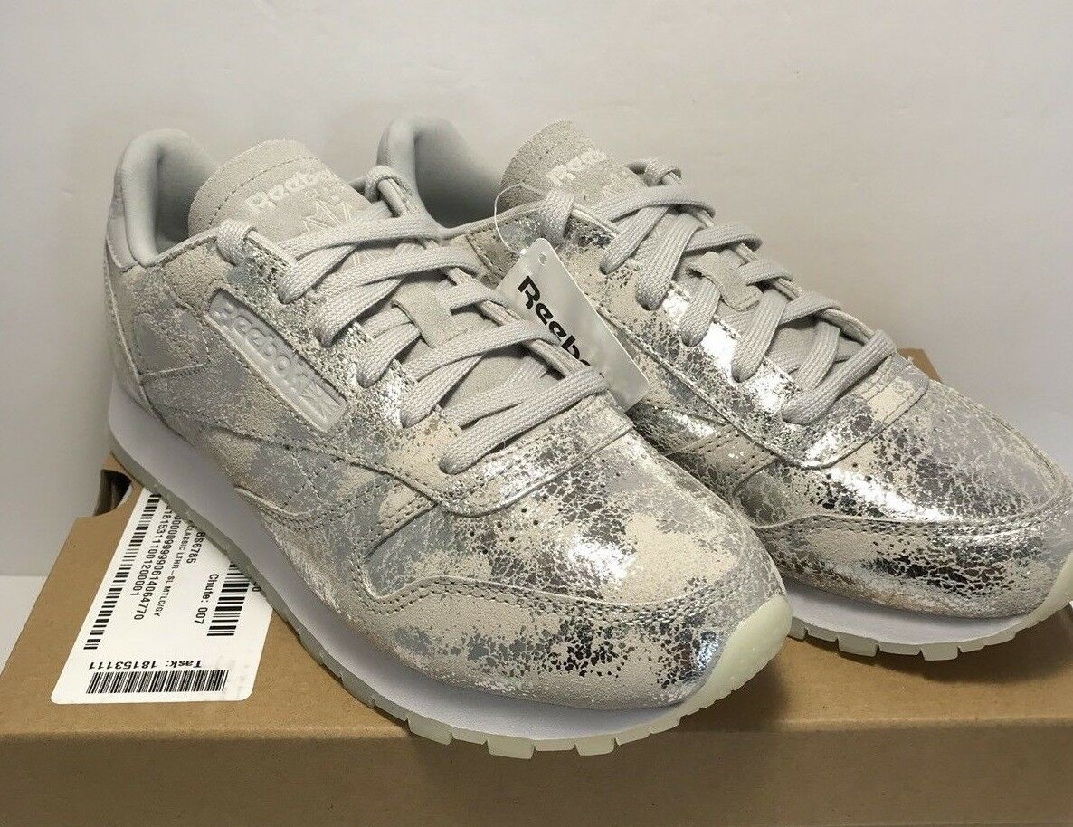 Reebok femmes Taille 8.5 Classic Leather Skull gris argent Shimmer Casual chaussures
