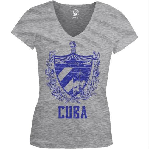 Blue Distressed Cuba Country Crest Cuban Pride  Juniors V-neck T-shirt