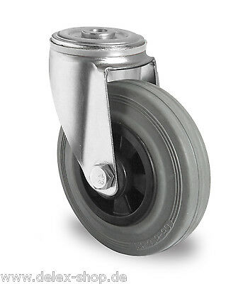 Transportgeräterolle 80 mm Gummi Rückenloch Transportrolle Lenkrolle Rolle Rad