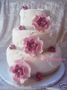 Zuckerblumen In Lilac Tone Fondant Rosen Tortendeko Hochzeit