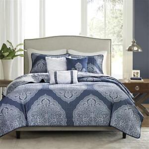 Details About Beautiful Modern Elegant Chic Soft Navy Blue White Grey Bohemian Quilt Set New