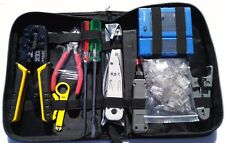 Network Cable Punch Down Tool Kit Tester Crimper Cutter Pliers Screwdrivers Case
