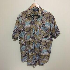 Blue-Ridge-Abstract-Floral-Vintage-90-039-s-Button-Front-Shirt-Mens-Large-100cm