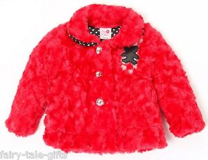 Outerwear Sincere Cutey Couture Red Teddy Coat 6-12mths New Good Reputation Over The World