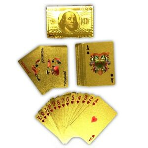 Juego-de-naipes-Deck-dorado-poker-Skat-oro-tarjetas-oro-pokerkarten-tarjetas-de-plastico