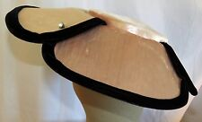Vintage 1940s Pink & Black Velvet w/ Rhinestones Cartwheel Pancake Portrait Hat