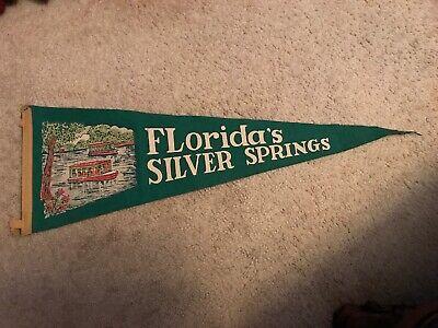Pre-Disney World Felt Pennant Glass Bottom Boat Mid-Century 1960s Vintage Silver Springs Florida Souvenir Pennant Camper Decor