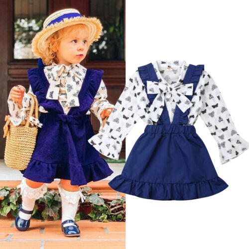 Toddler Kids Baby Girls T-Shirt Top Suspender Skirt Dresses Clothes Outfits Set