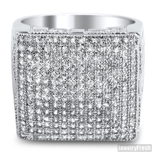 Rhodium Silver Fully Iced Out Micropave Lab Made Mens Ring