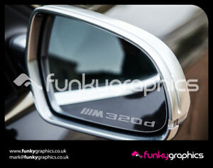 BMW-320d-M-SPORT-3-SERIES-E90-MIRROR-DECALS-STICKERS-GRAPHICS-x3-IN-SILVER-ETCH