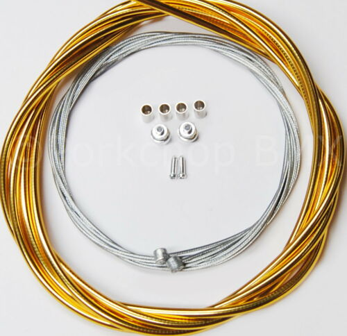 Bicycle 5mm LINED brake cable housing and hardware kit BMX MTB SHINY GOLD