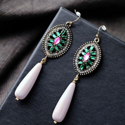 Boucles d`Oreilles Doré Goutte Rose Art Deco Ovale Vert Vintage Original XX 10