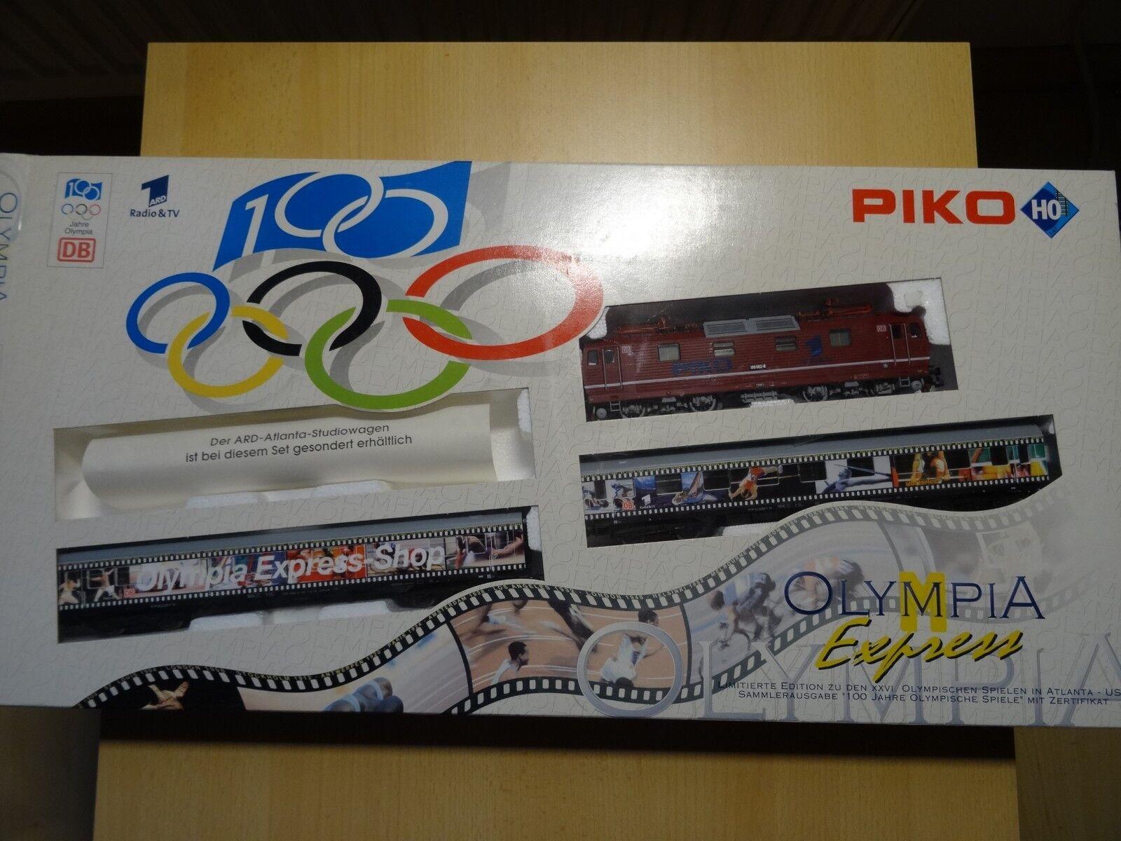 Piko HO Art Lim. Set DC Olympia Express BR 180 + 2 So-Wagen    Neuware  OVP