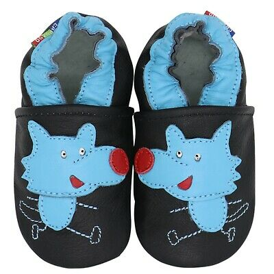 carozoo chicky dark green 3-4y soft sole leather baby shoes