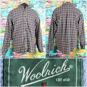 Woolrich-Men-039-s-Black-Plaid-L-S-Button-Up-Shirt-Size-Large-Casual-Front-Pocket