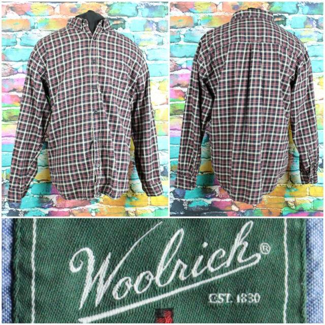 Woolrich Men's Black Plaid L/S Button Up Shirt Size Large Casual Front Pocket