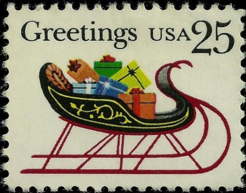 1989 25c Christmas Greetings, Sleigh & Presents Scott 2