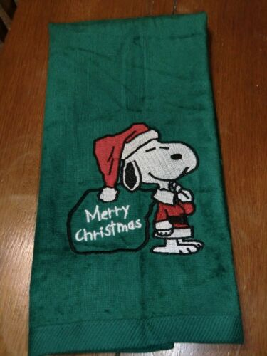 Merry Christmas Green Towel Snoopy Embroidered Velour Hand Towel