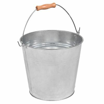 12L Litre Bucket Galvanised Metal Heavy Duty Wooden Handle New By Home Discount