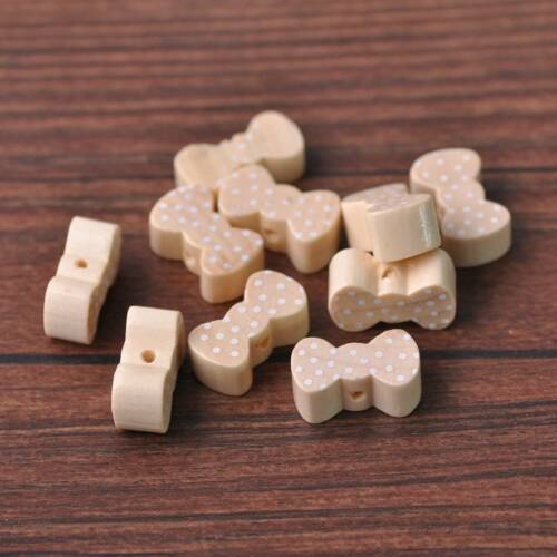 5//50pcs 20x11mm Wooden Bowknot Shape Cute Spacer Wood Beads DIY Jewelry Findings