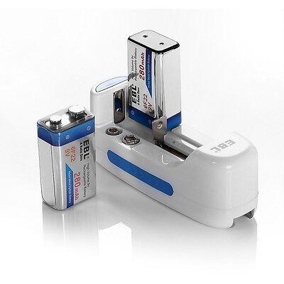 Charger For 18500 18650 Lithium 9V NI-MH NI-CD Battery + 2 x 6F22 280mAh Battery
