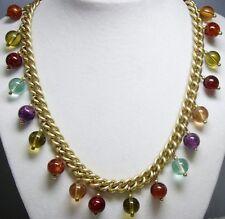 RARE~EVITA PERONI~Gold Tone Curb Link Multi Color Lucite Bead Pendant Necklace