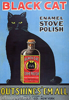 POSTER BLACK CAT ENAMEL STOVE POLISH OUTSHINES/'EM ALL VINTAGE REPRO FREE S//H
