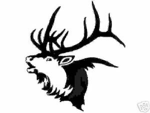 Black Vinyl Decal Bugeling Elk Head Hunting Antler Bugle Fun