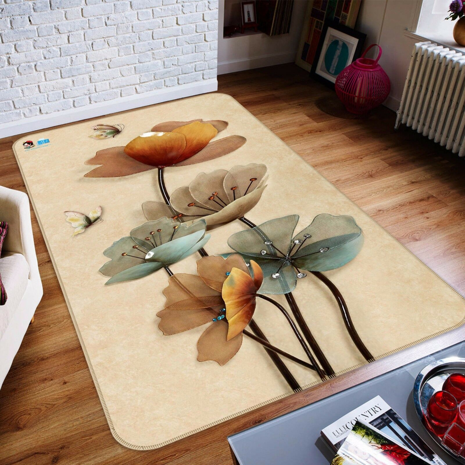 3D Diamond Flowers 844 Non Slip Rug Rug Rug Mat Room Mat Round Elegant Photo Carpet CA d92963