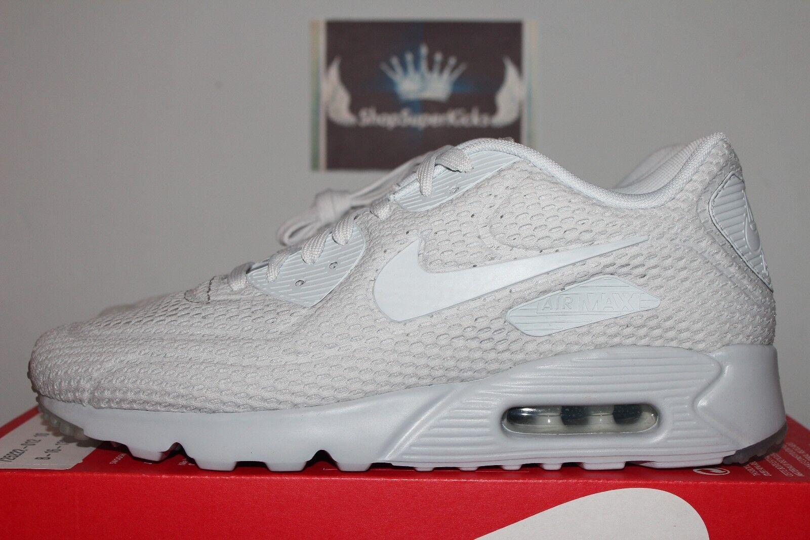 Nike Air Max 90 Ultra BR Breeze Triple Pure Platinum 725222-012 Men's US 9.5