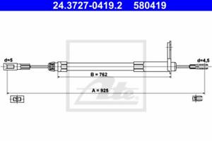 Feststellbremse für Bremsanlage Hinterachse ATE 24.3727-0419.2 Seilzug