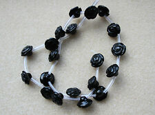 Agate Black (Gemstone) Hand Carved Flower Beads 12mm - Full Strand