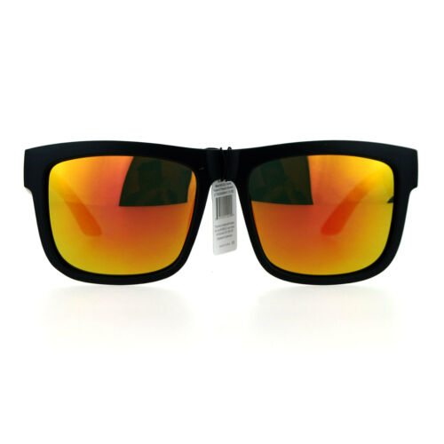 Kush Mens Reflective Color Mirror Lens Horn Rim Sport Sunglasses