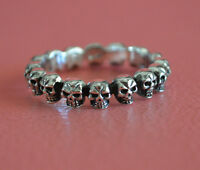925 Sterling Silver Men Multi Skulls Ring - Biker Stack Skulls Ring