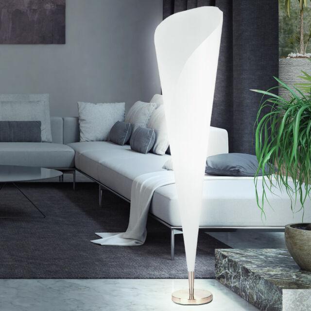 moderne Design Standleuchte Nickel Stehleuchte Stehlampe Wohnzimmer rund  WEISS
