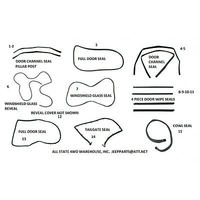 Rubber Weatherstrip Seal Kit Set For Full Doors for 87-95 Jeep Wrangler 13 Piece