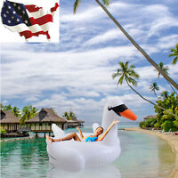 Summer Swimming Lounge Pool Kids Adults Rideable Raft Swan Inflatable Float Toy