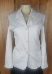 Women-039-s-Philippe-Adec-Size-4-3-Button-Front-Lined-Blazer-Jacket-Paris-White-EUC